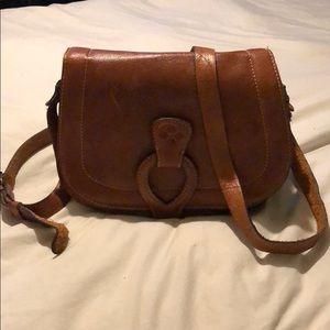 Patricia Nash Leather Brown Saddle Bag